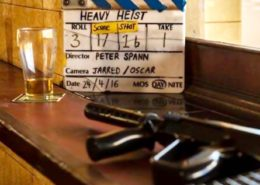 "The Clapper from Peter Spann's first film, ""Heavy Heist""."
